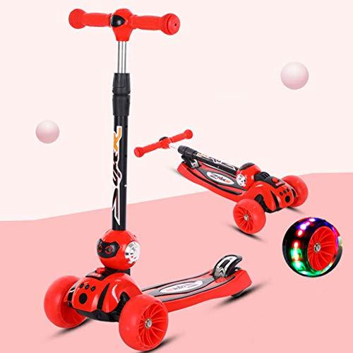 Kinderroller 4-Rad-Tretroller Faltbare LED-Leuchträder Höhenverstellbarer Griff 3-10 Jahre Alter Junge und Mädchen Leichtgewicht,red,4cm Wheel