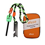 fesa Survival Gear Thick Magnesium Flint Fire Starter with Custom Made para Cord