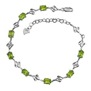 100% Genuine Nature Peridot 18K White Gold Plated 925 Sterling Silver Bracelet Fine Jewelry