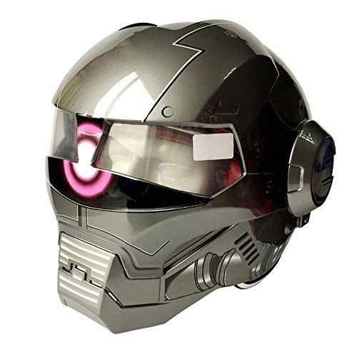 Motorrad Persönlichkeit Helm Iron Man Integralhelm D.O.T Zertifiziertes Straßenrennen Modular Flip Fronthelm Erwachsene Jugend, Grau (Size : Large)