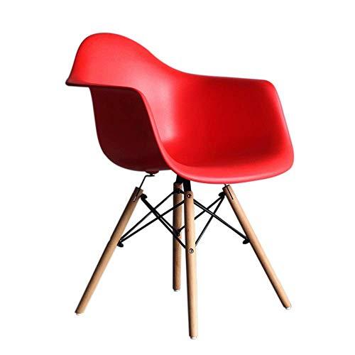 YLCJ Stühle Esszimmerstuhl, HYX002 Computer Stuhl, Bürostuhl, Verhandlungsstuhl, Home Office, Nordic Minimalist Style, Kunststoff mit Rückenlehne, mit Sessel (Farbe: Rot)