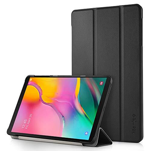 Hianjoo Coque Etui pour Samsung Galaxy Tab A 10.1 (2019) SM-T510 T515, Ultra Slim PU Housse Cover de Protection pour Samsung Galaxy Tab A 10.1 2019 T510 T515, Noir