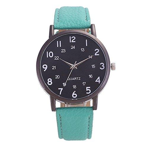 Herren Holz Armbanduhr Classic Analoge Quarzwerk Uhren mit Lederband für Herren Damen Grün