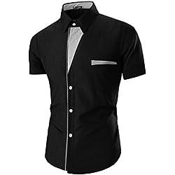 Tefamore Camisas de manga corta para hombre Ropa formal Casual De Fiesta (Tamaño:XXL, Negro)