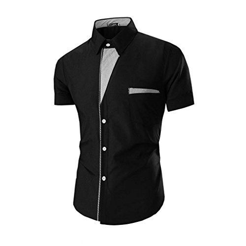tefamore-camisas-de-manga-corta-para-hombre-ropa-formal-casual-de-fiesta-tamanom-negro