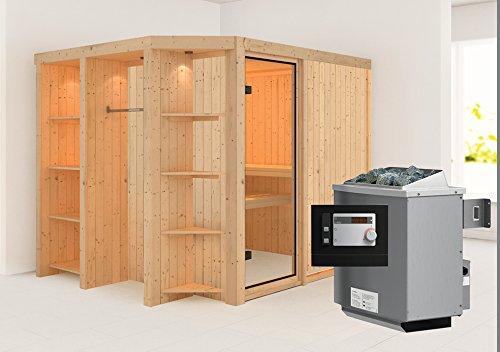 Juna - Karibu 68 mm Superior Sauna inkl. 9-kW-Ofen - mit Regal -
