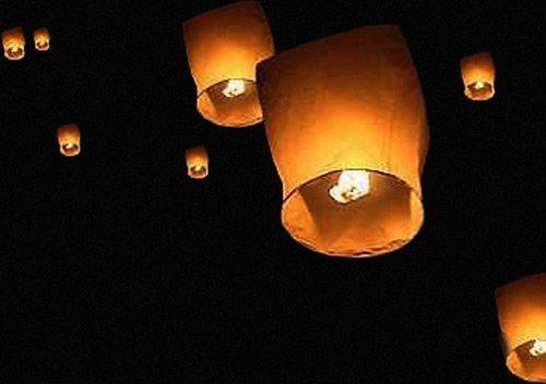 Thumbs Up Flying Sky Lanterns–Linternas, Tradicional Chino Volador Brillante Faroles, 10unidades