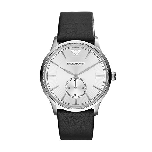 Emporio Armani Unisex Quartz Watch with Silver Dial Analogue Display and Black Leather Bracelet AR1797