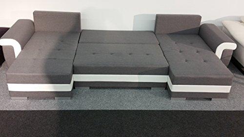Couchgarnitur OPTI mit Schlaffunktion und Bettkasten als U Form in modernem Design, präzise verarbeitet, sehr komfortabel unter federt - 2