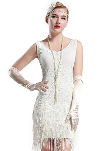 ArtiDeco 1920s Kleid Damen Maxi Lang Vintage Abendkleid Gatsby Motto Party 20er Jahre Flapper Kleid Damen Kostüm Kleid  Weiß L / UK 16 / EU 44