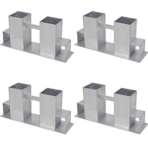 Festnight 4 Stk. Brennholz Stapelhilfe aus Verzinktem Stahl Silberfarbe für Brennholz-Regal Holzstapelhalter