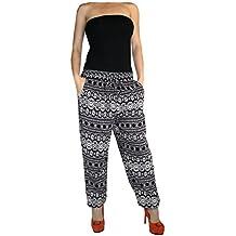 Damen Hose Haremshose Freizeithose Hose mit Muster Baumwolle Sommerhose( Muster 22)