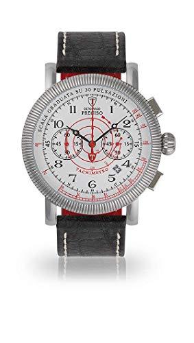 DETOMASO PRECISO DT1063-D-963 - Reloj cronógrafo analógico de Cuarzo para Hombre, Correa de Piel Negra, Esfera Blanca