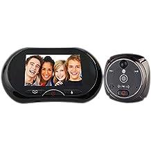 LKM Security ® Mirilla para conexiones Cámara con timbre de la pantalla Touch Screen 3,7pulgadas con visión nocturna infrarrojos Detector de movimiento y vídeo Mensaje con Slot Micro Sd