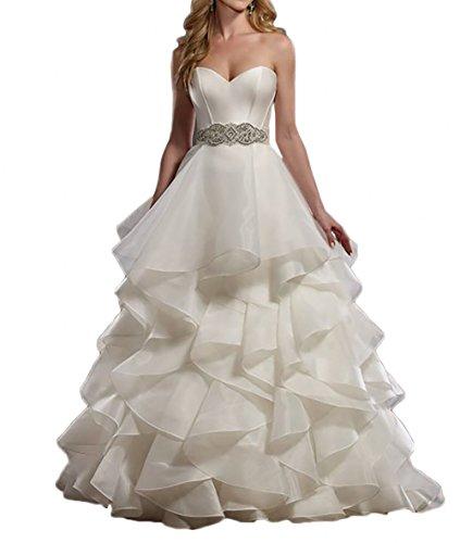 La_Marie Braut Elegant Elfenbein Herzausschnitt Hochzeitskleider Brautkleider Brautmode Prinzess...