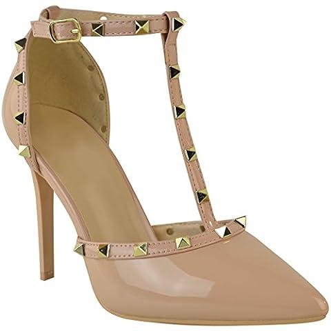 Sandales à talons aiguille hauts - brides/clous - style rock/soirée - femme - couleur chair vernie/clous dorés - EUR 37