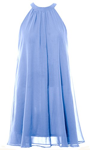 MACloth Women Halter Chiffon Cocktail Dress Short Wedding Party Formal Dress Sky Blue