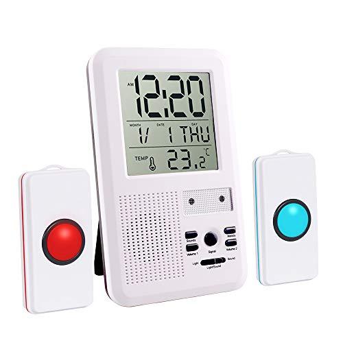 Multifunktional Haus Wireless Mobiler Alarm Notruf Knopf Hausnotruf Panikalarm Funkalarm für Pflegebedürftige Geduldig Älterer Mann mit Thermometer Wecker Datum Funktion Wireless Security Receiver
