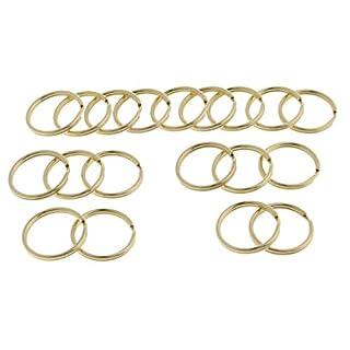 Hellery 20 Stücke Schlüsselringe aus Messing, Runde Flache Schlüsselanhänger Ringe - Runder Rand 30mm