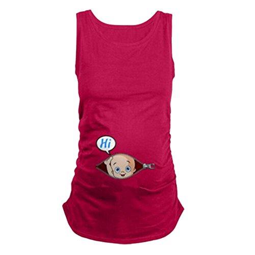 Q.KIM Witzige Süße Schwangere Maternity Damen Umstandsmode T-Shirts mit Mutterschafts-Niedliche Lustige Schwangerschaft T-Shirt-Hi Serie