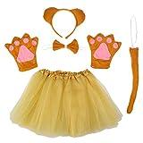 Amosfun Insieme di Costume di Prestazione di Orso Creativo Insieme di Cosplay Animale Include Fascia di Arco Cravatta di Coda Vestito da Tutu per i Bambini (Marrone Chiaro)