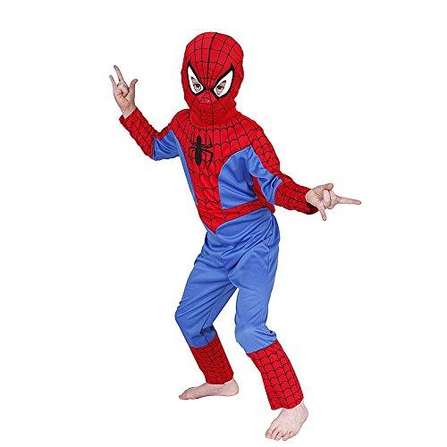 Unbekannt Kinderkostüm Spiderman Kostüm Kind, Verkleidung 3- teiliges Kostüm für Kinder (Medium) (Medium Spiderman Kostüm)
