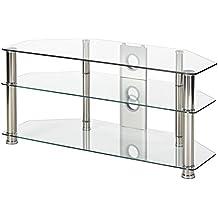 MMT 1050mm Soporte para televisor de cristal transparente plateado cromado pierna para 32pulgadas a 50pulgadas lcd LED Smart TV pantallas