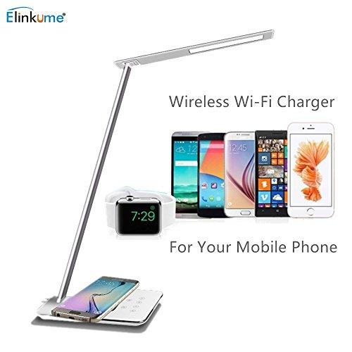 Aluminium-wärme-lampe (ELINKUME 5W Qi Schreibtischlampe Wireless Charging 48 * 4014 SMD LED Schreibtischlampe Modern Design 800LM Dimmbar Touch Schreibtischleuchten Flexibel Tischlampe)