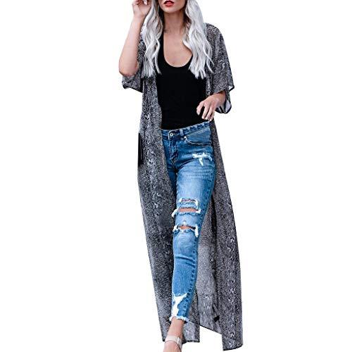 kolila Damen Badeanzug vertuschen Strand Long Kimono Badeanzug Chiffon Floral Cardigan Casual Kurzarm Bluse Tops