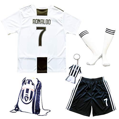 2018/2019 Juventus #7 Cristiano Ronaldo Heim Kinder Fußball Trikot Hose und Socken 28 (11-12 Jahre)