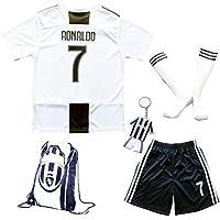 2018/2019 Juventus #7 Cristiano Ronaldo Heim Kinder Fußball Trikot Hose und Socken