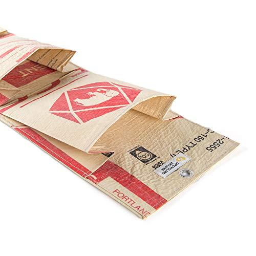 AC Greenshop Upcycling Wandtasche mit 3 Fächern aus recyceltem Zement- /Fischfutter-/Reissack, Farbe/Aufdruck:Elefant Rot-Beige