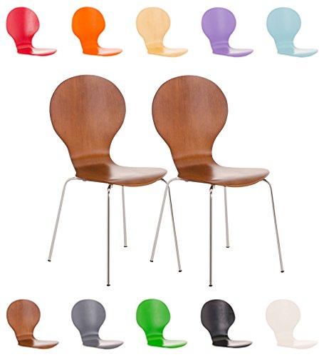 Clp set 2x sedie impilabili diego in legno robusto   sedia attesa telaio in metallo   sedia ergonomica e facile da pulire   sedia conferenza   sedia design classico per riunioni o sale marrone