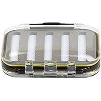 OULII Caja de Moscas Caja de pesca impermeable doble tapa transparente