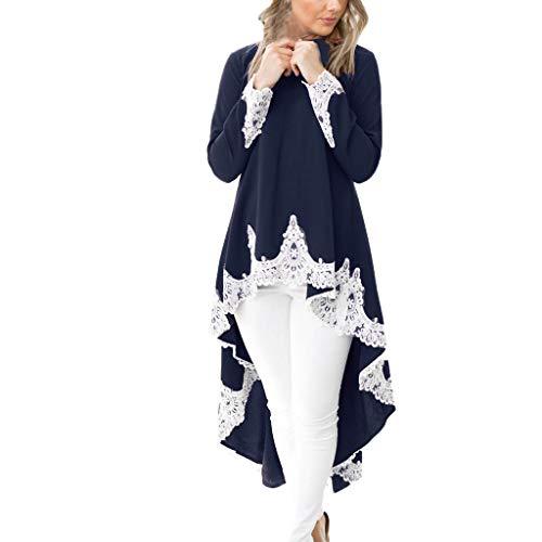 BHYDRY Bekleidung Langärmeliger beiläufiger Ausschnitt Pullover für Frauen Unregelmäßiger Rand Einfarbig Spitzenkleid (Small, Marine) - Hard-rock-jacke