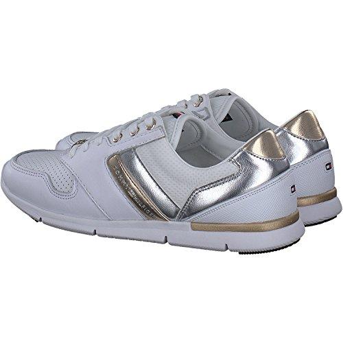 Cuoio bianco Tommy Scarpe Hilfiger Leggero Femme Blanc Tennis Calzatura Bassi Da 100 Rq6wBqxZ