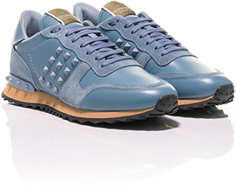 Valentino - Zapatillas de Cuero para Hombre Azul Celeste