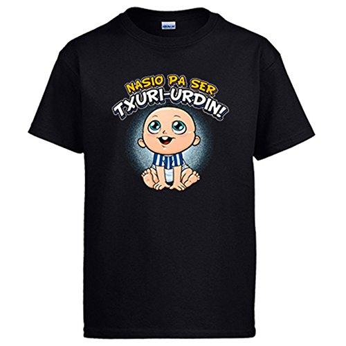 Camiseta nacido para ser Txuri Urdin La Real fútbol - Negro, L