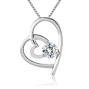 "J.Rosée Heart Necklace ""I Will Be With You Forever"" 925 Sterling Silver 3A Cubic Zirconia 18'' Chain for Women"