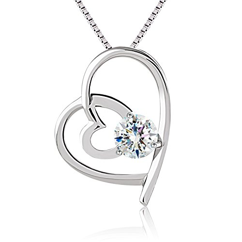 "J.Rosée Heart Necklace ""I Will Be With You Forever"" 925 Sterling Silver 3A Cubic Zirconia 18"" Chain for Women"