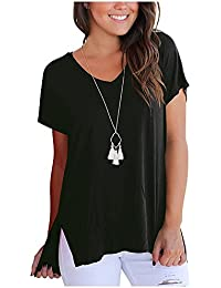 Imixcity Women's Plus Size Short Sleeve T-Shirt V-Neck Loose Solid Tee With Side Split