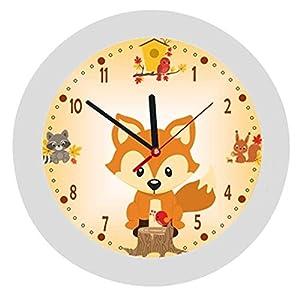 ✿ Kinderwanduhr in 4 Farben ✿ Fuchs Fox orange ✿ Wanduhr ✿ KEIN TICKEN ✿ mit/ohne Name