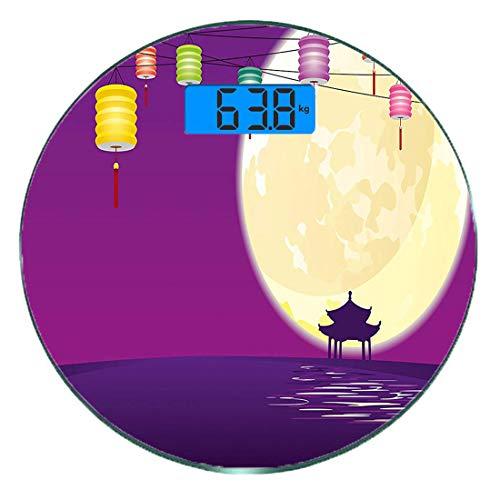 Digitale Präzisionswaage für das Körpergewicht Runde Laterne Ultra dünne ausgeglichenes Glas-Badezimmerwaage-genaue Gewichts-Maße,Pavillon im chinesischen Stil in der Vollmondnacht zur Feier des Mid A