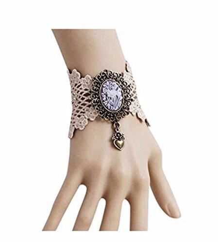 Armband, viktorianischer Stil, Spitzenstoff, Cremefarben
