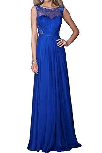 La_mia Braut Sexy Durchsichtig Pailletten Abendkleider Brautjungfernkleider Abschlussballkleider Lang A-linie Royal Blau