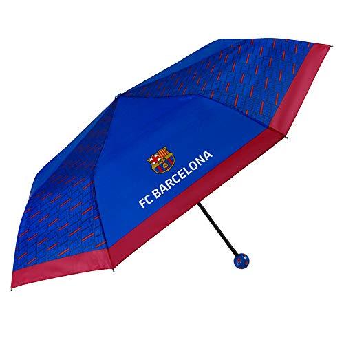 Regenschirm FC Barcelona - Ballongriff Taschenschirm Windicher Sturmfest - Offizielle Merchandise mit Barça Logo - Blau mit Rotem Rand - Manuelle Öffnung - PFC Free - Durchmesser 98 cm - Perletti