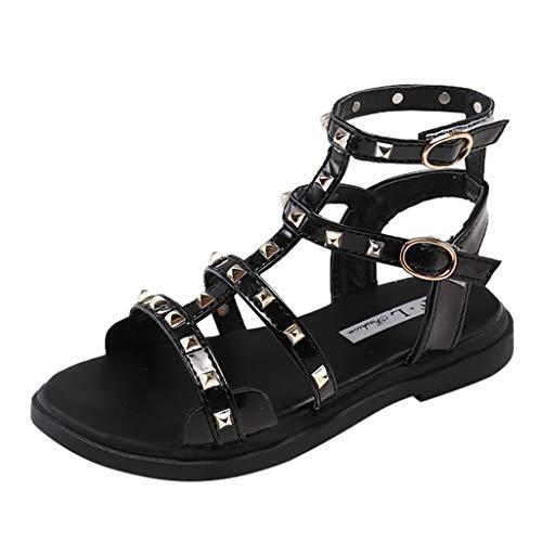 Fenverk Kinderschuhe MäDchen Sandalen Kindersandale Geschlossene Leder Innensohle Sandale Sommer Sandaletten Lauflernschuhe Schuhe(Schwarz-01,33)