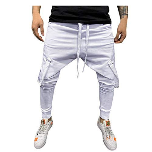 Qinhanjia die Beiläufigen Freienleichtathletik Taschen Drawstring Mehrfacharbeitshose Fracht Lange Hosen, Lässige Outdoor Tasche Mehrfach Arbeitshose Cargo Long Pants (Weiß, L) -