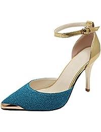 2014 flach Mund spitz mit hohen Absätzen Temperament Schuhe (38.5, blau)
