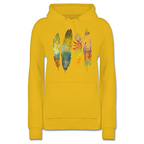 Boheme Look - Federn Wasserfarbe Watercolor Feathers - L - Gelb - JH001F - Damen Premium Kapuzenpullover / (Hippie Vintage-wrap)